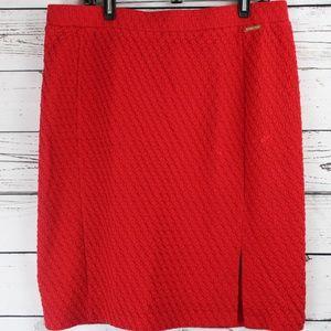 Michael Kors Embossed Pencil Red Skirt XL